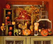 Gorgeous vintage lamps and halloween decorations which you could buy at the national antiques art and vintage fair