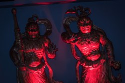 statues illuminated with red light from Yamamori Sushi, who's manager Graham Ryan we interviewed in this month's Amuse Bouche