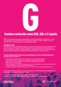 A poster for GHB harm reduction in Portuguese from HSE and Drugs.ie