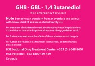A card for GHB harm reduction from HSE and Drugs.ie