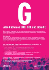 A poster for GHB harm reduction in English from HSE and Drugs.ie