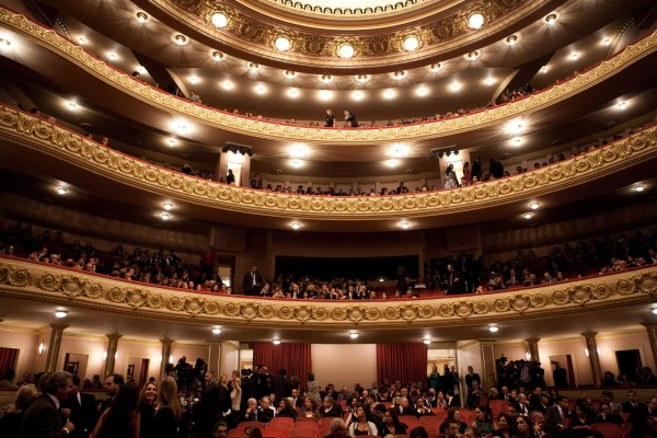 A conservative looking opera auditorium which could be watching trans opera singer Lucia Lucas perform