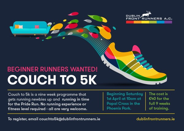 a poster of a couch turning into a sneaker with the words Couch To 5K on it by Dublin Front Runners