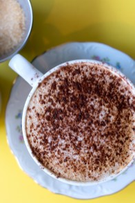 A cappuccino at the cake cafe and slice which are both owned by Ray O'Neill