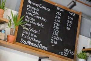 Coffee board of Two Boys Brew café