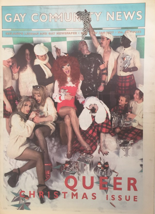 The 1996 Issue in the Evolution of GCN, Ireland's National LGBT Publication with drag queens and school kids on the cover