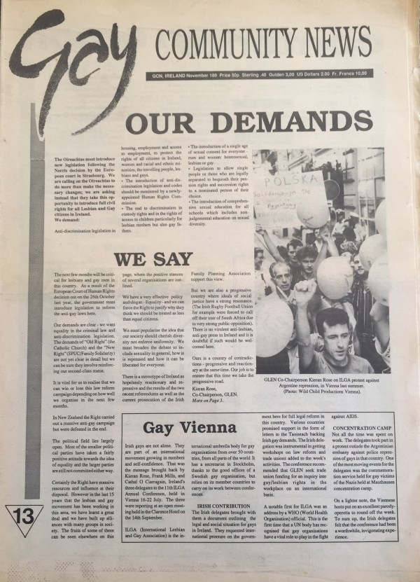 The 1989 Issue in the Evolution of GCN, Ireland's National LGBT Publication with images and words on the cover