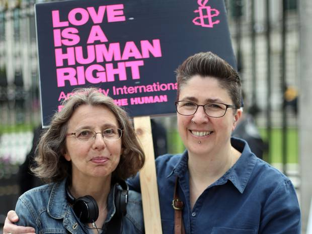 Campaigners Catherine Couvert (left) and Sally Bridge from the Love Equality Coalition