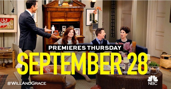 Grace, Jack and Karen are sitting on a couch laughing while Will is standing talking to them with his arms open. Text says the show will premiere on September 28.