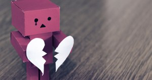 A sad robot with a giant broken heart in his hands to represent the new TV3 show, Heartbreak Hotel
