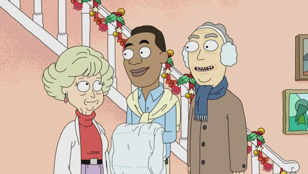 Jerry's parents from rick and morty with a black lover