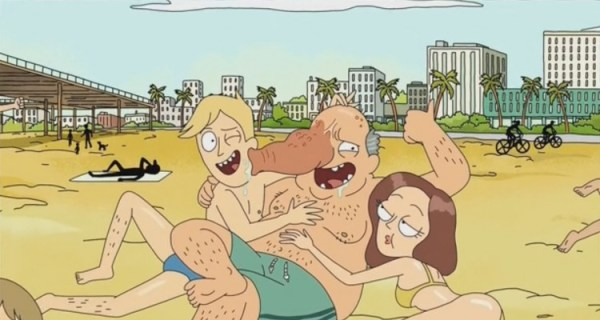 A trunk person on a beach from rick and morty