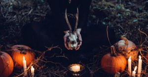 somebody hold a skull with horns in their hands while sitting in front of pumpkins and candles in the woods