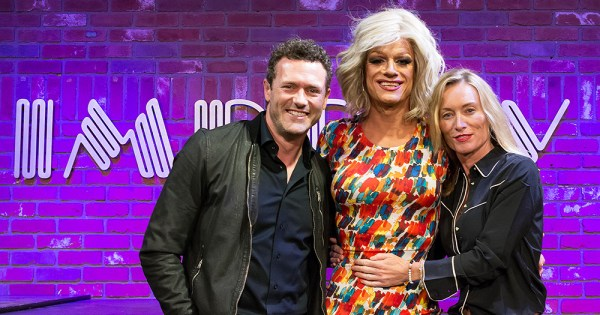 Panti Bliss and two guests at the Hollywood Improv venue