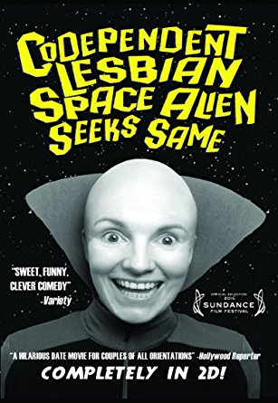 The cover of Codependent Lesbian Space Alien Seeks Same film with Jackie Monahan on it with no hair on her head.