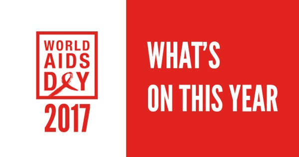 The world AIDS Day 2017 logo with the text What's On This Year beside it on a red background