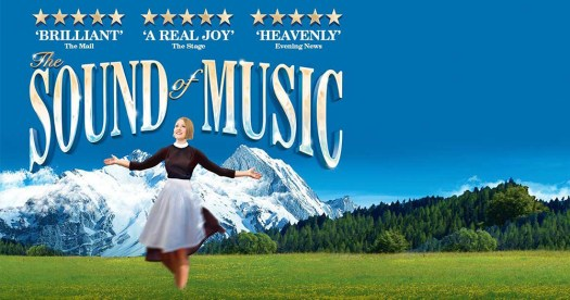 Poster of the sound of music. It shows Maria dancing through the Hills singing.