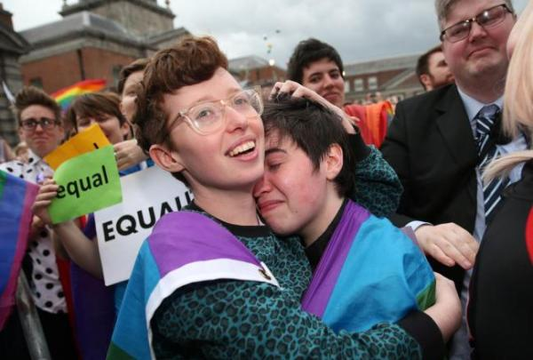 Chair of Pride Clodagh with fiancé Aisling