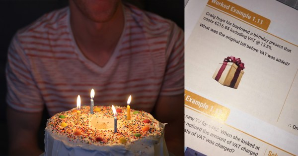 guy blows out candles on a cake and picture of tweet about textbook