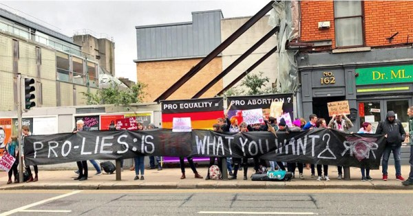 The group Radical Queers Resist counter protesting an anti-abortion group on Capel Street