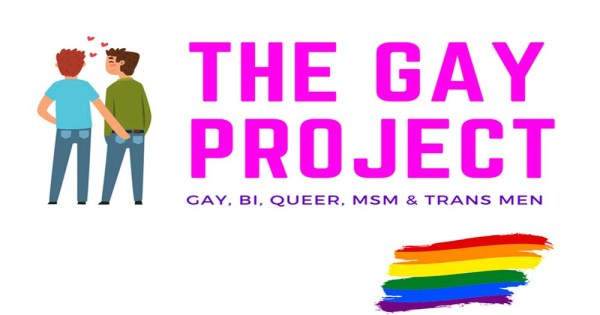 Animated logo for The Cork Gay Project featuring a male couple holding hands