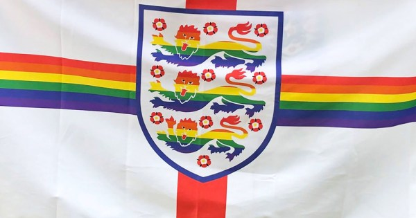 The LGBT banner featuring the three lions in rainbow colours