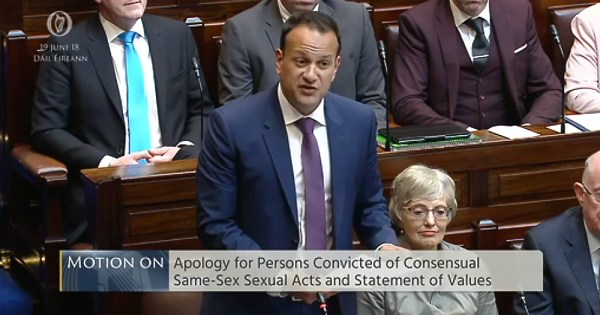 Leo Varadkar apologising to those who were convicted for being gay in Ireland in Leinster House