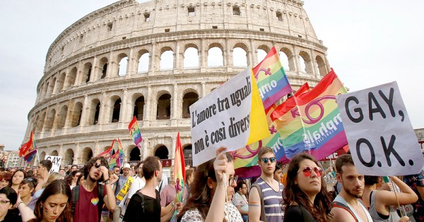 People marching in Rome in support of LGBT+ rights