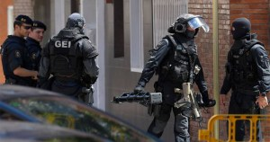 Armed police at the site of the knife attack in Spain