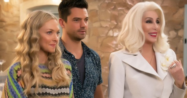 Cher in Mamma Mia: Here We Go Again with Amanda Seyfried and Dominic Cooper