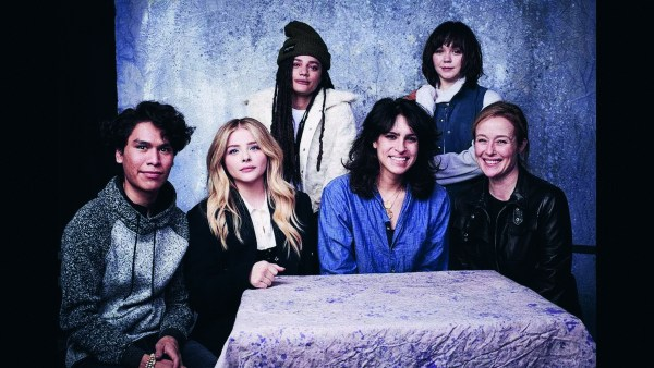 Desiree Akhavan poses with the cast of the film 'The miseducation Of Cameron Post'