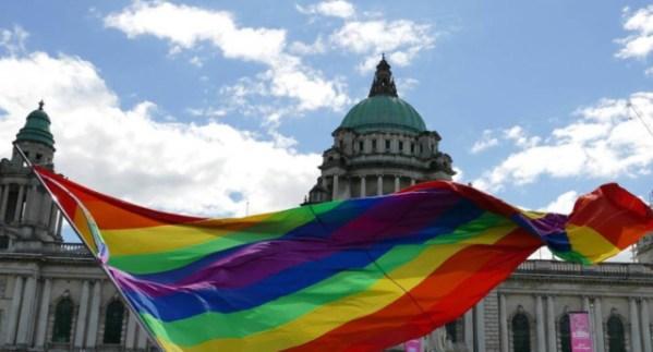 Pride flag at Belfast pride