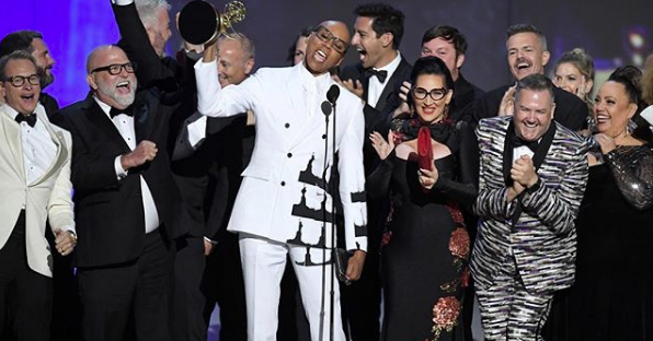 The cast of 'RuPaul's Drag Race' accepting their award at the Emmy Awards.