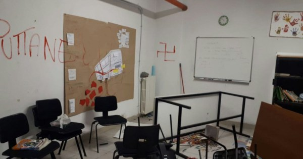 The classroom in Milan that was vandalised in the attack.