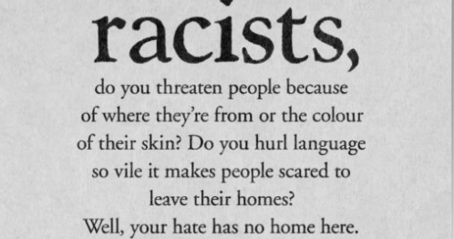 The text of the billboard addressing racism.