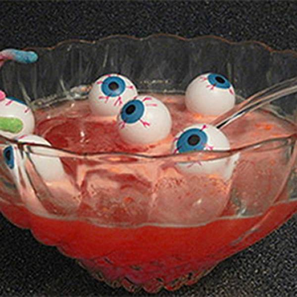 Eyeball in a punch bowl makes a perfect drink for a Halloween party