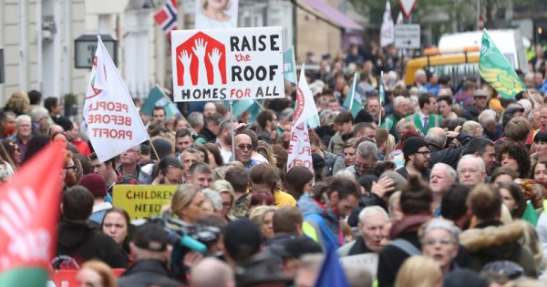 Thousands of people in Dublin City Centre protesting the housing crisis