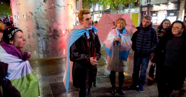 Protestors gather at the Spire to mourn the lives lost to transphobic violence.
