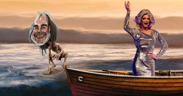 John Waters being sent off to sea by Panti