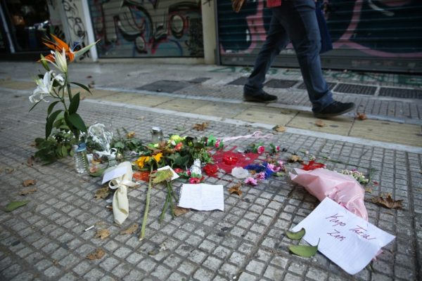 Memorial for Zak Kostopoulos in Athens, Greece after he was brutally beaten.