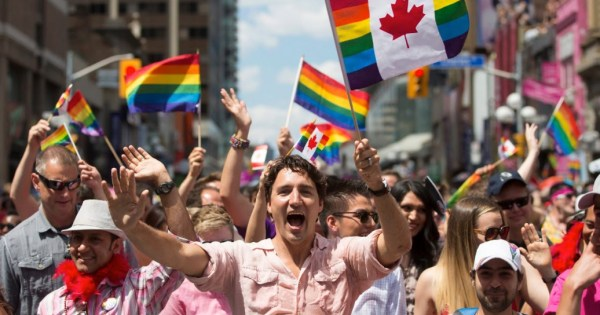 Justin Tudeau and others celebrate Pride on Canada's streets.