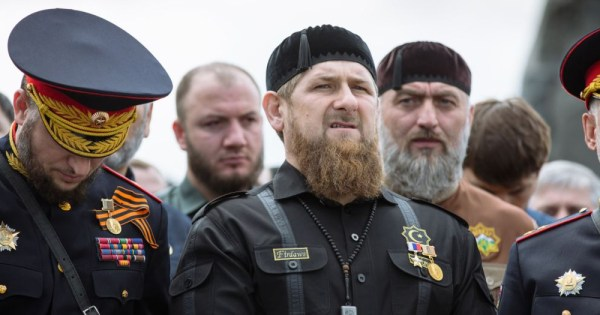 Chechen leader Ramzan Kadyrov and other members of the military