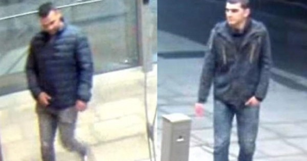 A still from the CCTV footage showing two men in connection to the incident.