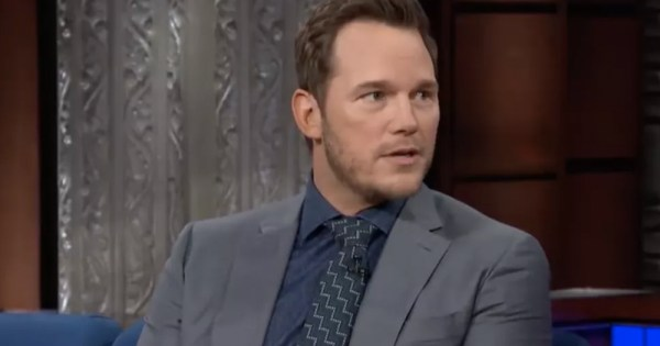 Chris Pratt being interviewed on a couch