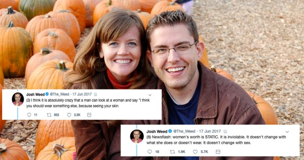 Man and woman smiling in front of left background of pumpkins and right background of path. Two twitter screen grabs are in the left and right foreground from thread on rape culture.