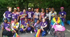 Members of Identity - the LGBT+ asylum seekers group gathered dressed in Pride outfits
