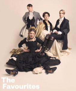 Pillow Queens in the style of 'The Favourite' movie poster