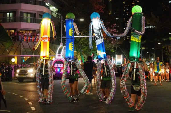 The Sydney Queer Irish Mardi Gras team with giant light up puppets