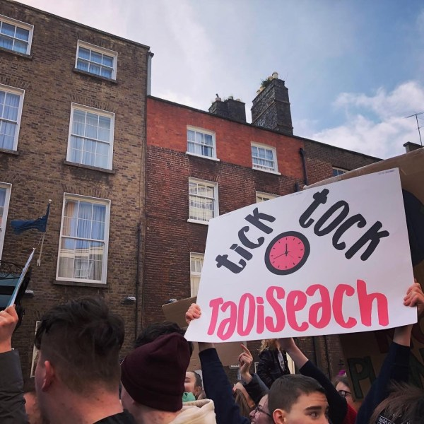 Climate action protest in Dublin student strike
