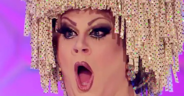A close-up of drag queen Nina West looking shocked on the new episode of RuPaul's Drag Race